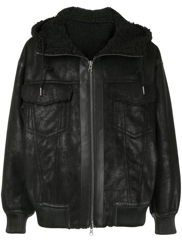 SONGZIO reversible faux-shearling jacket in black