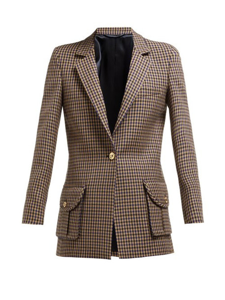 Blazé Milano - Timeless Single Breasted Check Wool Blazer - Womens - Cream Multi