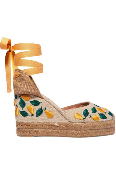 Castañer - Carina 100 Embroidered Canvas Wedge Espadrilles - Sand