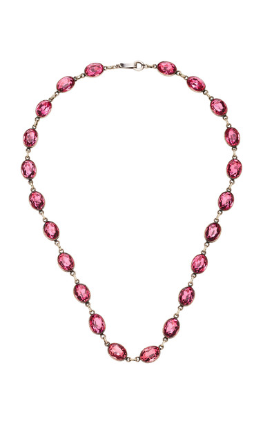 VELA Antique Silver Glass Necklace in pink