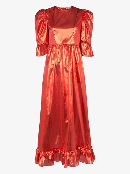 Batsheva Prairie metallic puff sleeve dress