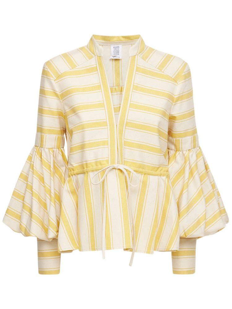 ROSIE ASSOULIN Striped Cotton Canvas Shirt in ecru / mustard