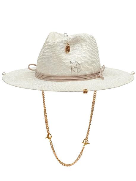 RUSLAN BAGINSKIY Chain Straw Fedora Hat in natural