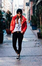 to be bright,blogger,coat,sweater,shoes,hat,belt,sunglasses,sneakers,red jacket,winter outfits