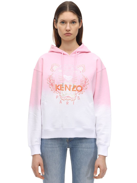 KENZO Tiger Embroidered Degradé Cotton Hoodie in pink / white