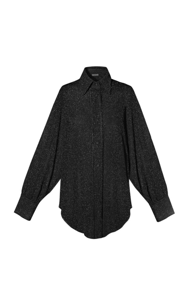 Oseree Stretch-Lurex Shirt in black