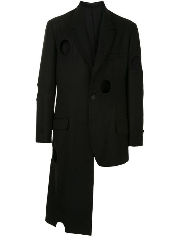 Yohji Yamamoto cut-out circle blazer in black
