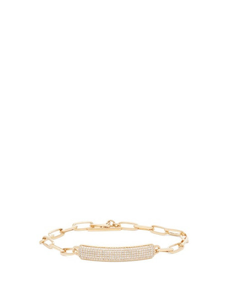 Lizzie Mandler - Od Id Diamond & 18kt Gold Nameplate Bracelet - Womens - Gold