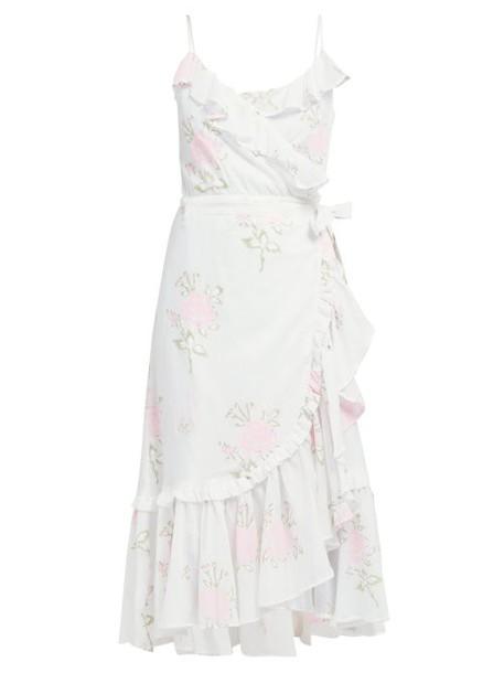 Juliet Dunn - Floral Print Ruffled Cotton Wrap Dress - Womens - White