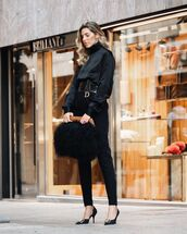pants,black pants,high waisted pants,pumps,black blouse,feathers,black bag,dior,belt
