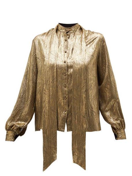 Saint Laurent - Pussy-bow Metallic Jacquard Blouse - Womens - Gold