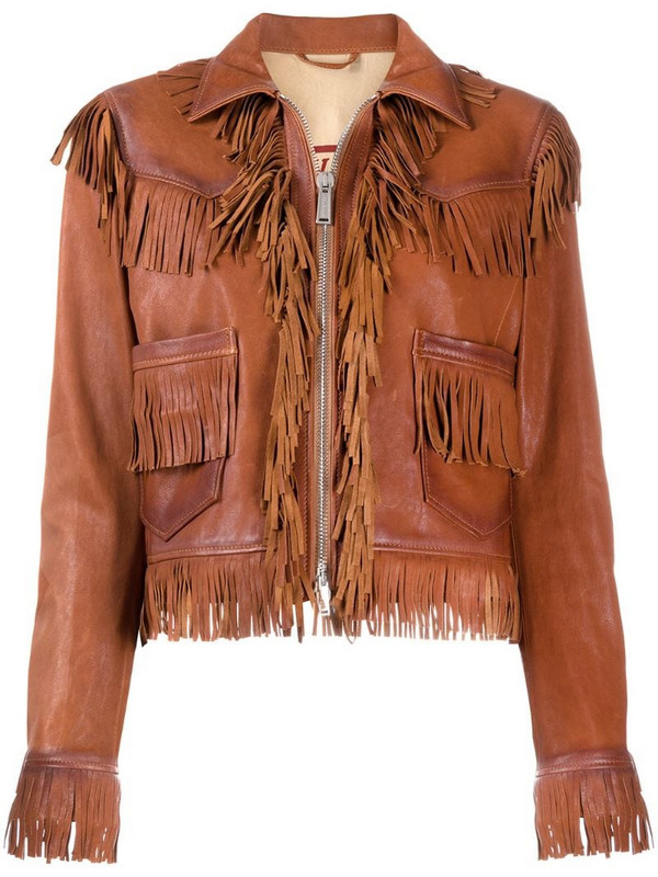 Dsquared2 fringed leather jacket in brown