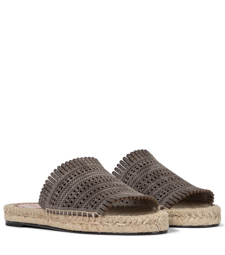 Alaïa Laser-cut leather espadrille sandals in grey