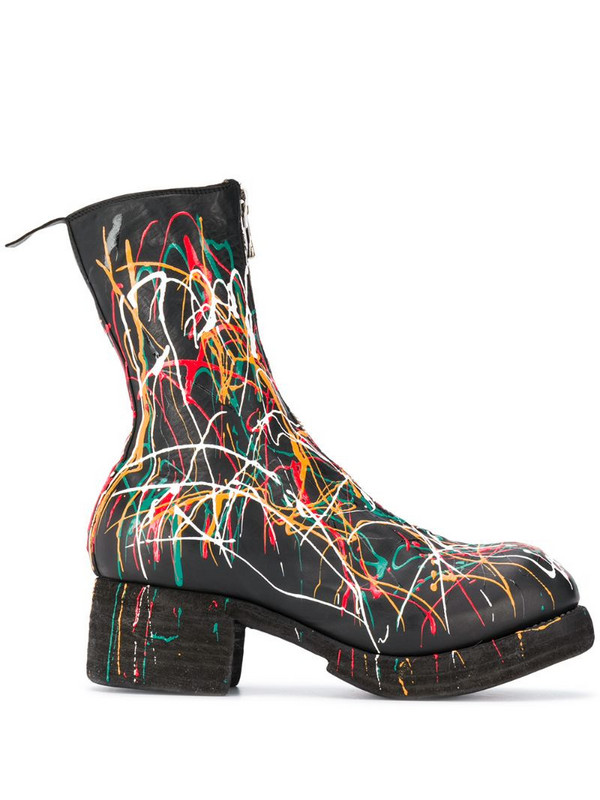 Guidi paint splattered ankle boots in black