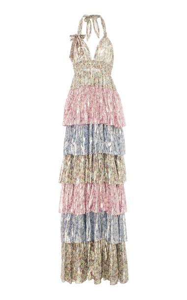 LoveShackFancy Clarissa Tiered Floral Silk-Blend Lamé Maxi Dress Size: in print