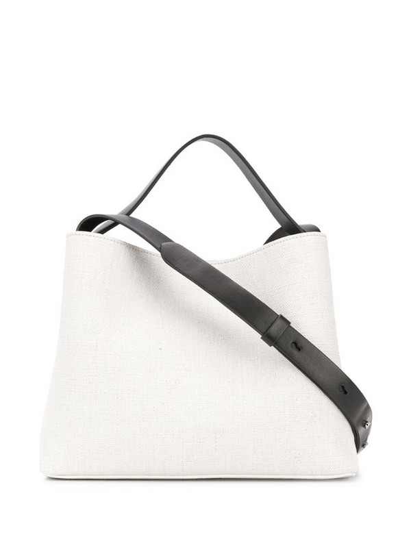 Aesther Ekme textured contrast strap bag in white