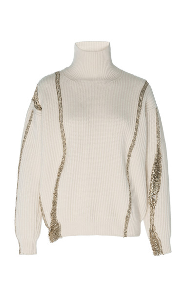 Oscar de la Renta Embellished Merino-Wool And Cashmere-Blend Turtleneck Sweater in white