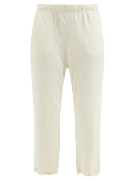 Les Tien - Raw-hem Brushed-back Cotton Track Pants - Womens - Ivory