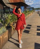 dress,red,red dress,polka dots,summer dress,knee length dress