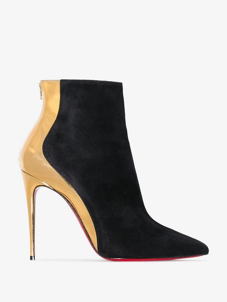 Christian Louboutin black and gold metallic delicotte 100 suede leather boots