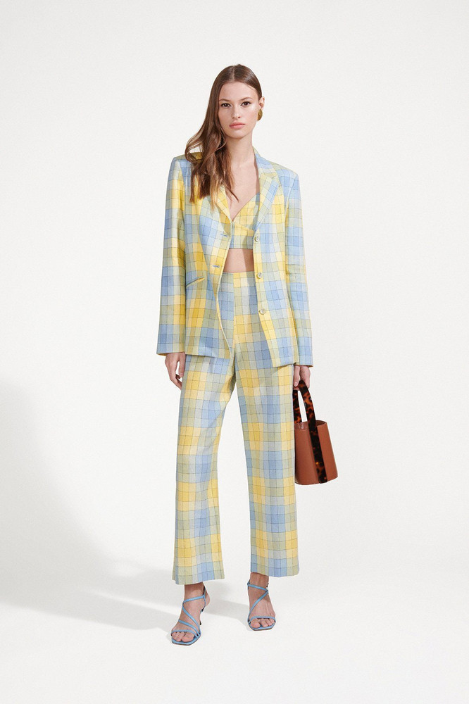 Staud TUNNEL BLAZER | COASTAL BLUE CHECK