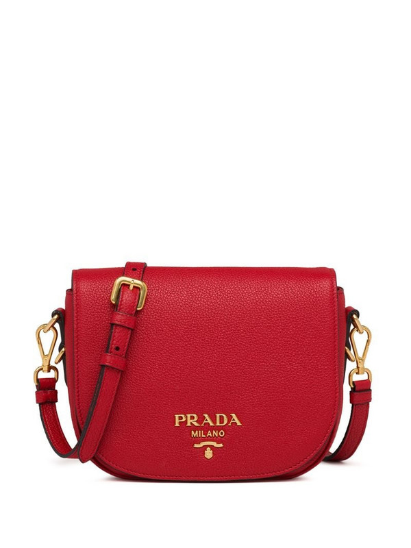 Prada logo-embellished shoulder bag in red