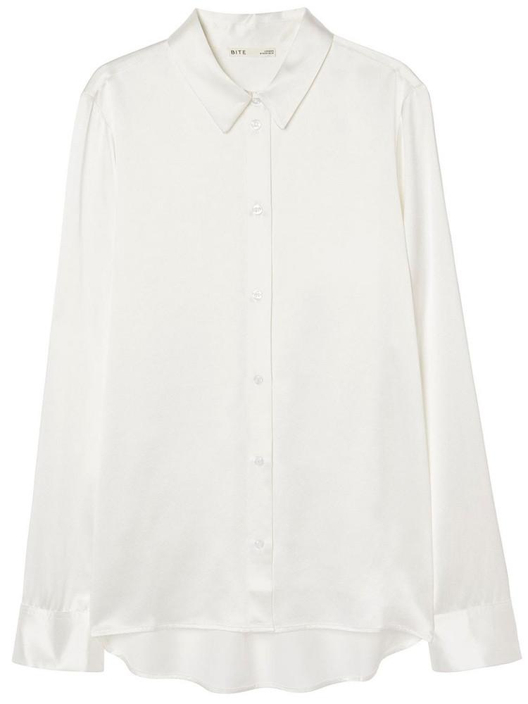 BITE STUDIO Organic Silk Satin Shirt in white