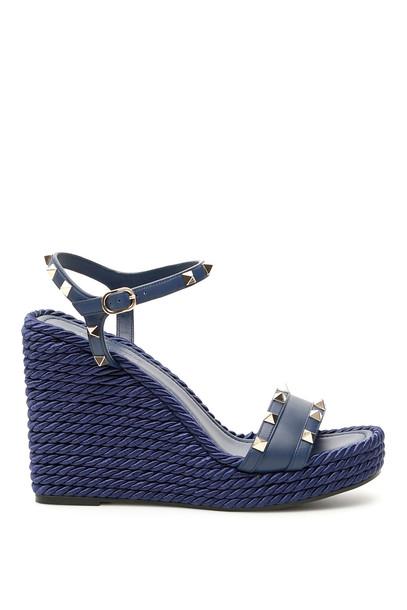 wedges blue shoes