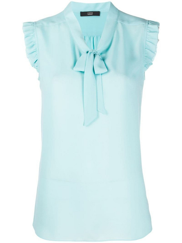 Steffen Schraut pussy-bow sleeveless blouse in blue