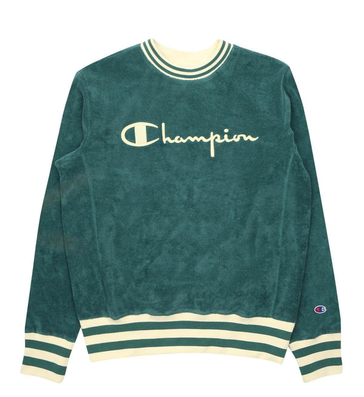 sweater green cream champion stripes vintage vintagesweater