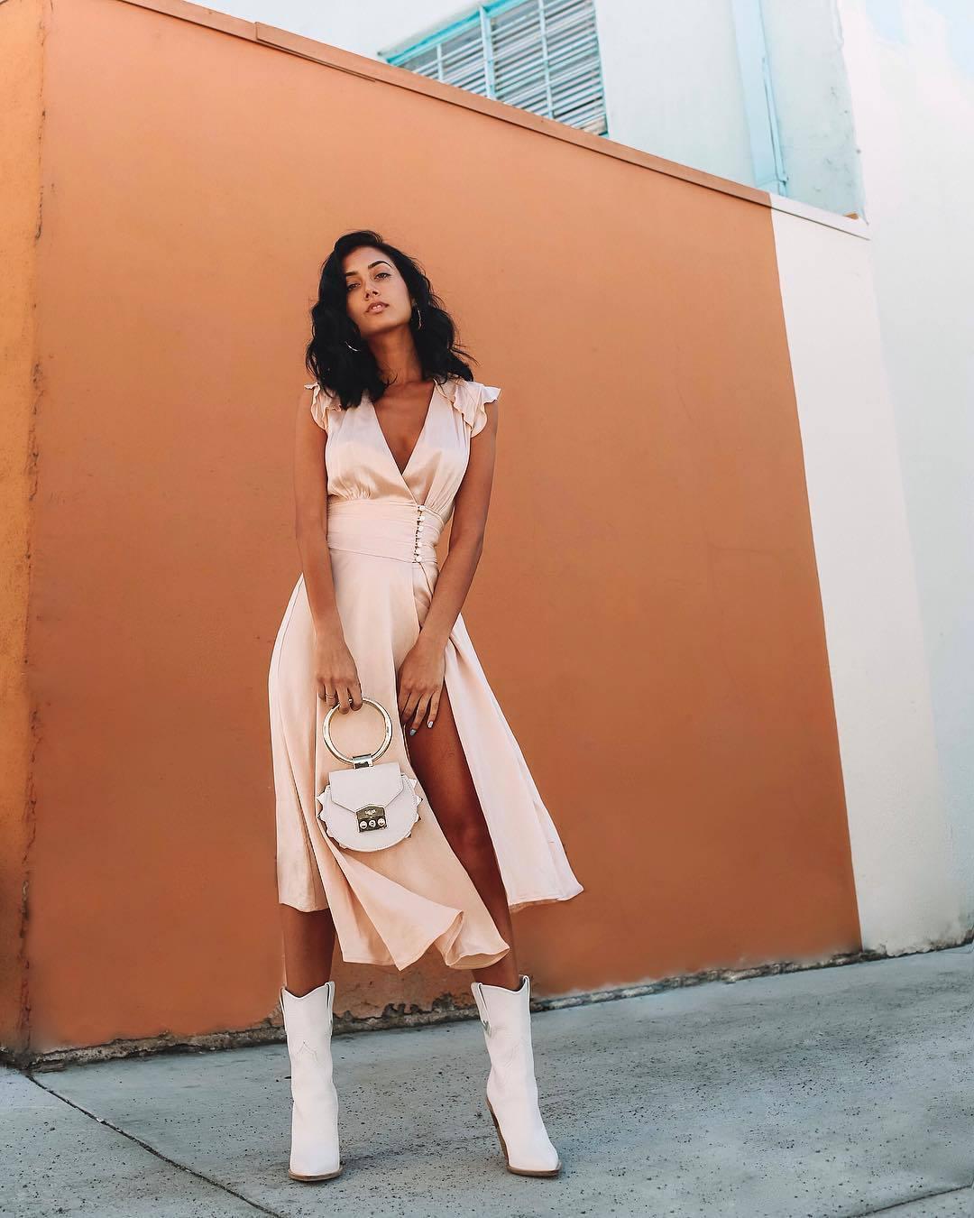 dress midi dress slit dress satin dress asymmetrical dress v neck dress white boots white bag handbag