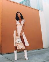 dress,midi dress,slit dress,satin dress,asymmetrical dress,v neck dress,white boots,white bag,handbag