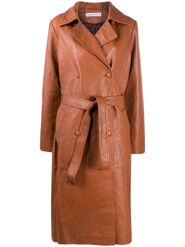 Saks Potts embossed logo double-breasted coat in brown