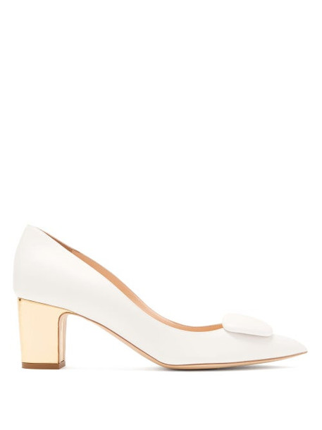 Rupert Sanderson - Clava Pebble Metallic-heel Leather Pumps - Womens - White Gold