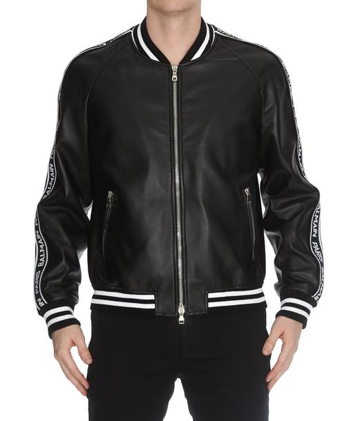Balmain Leather Bomber Jacket in black