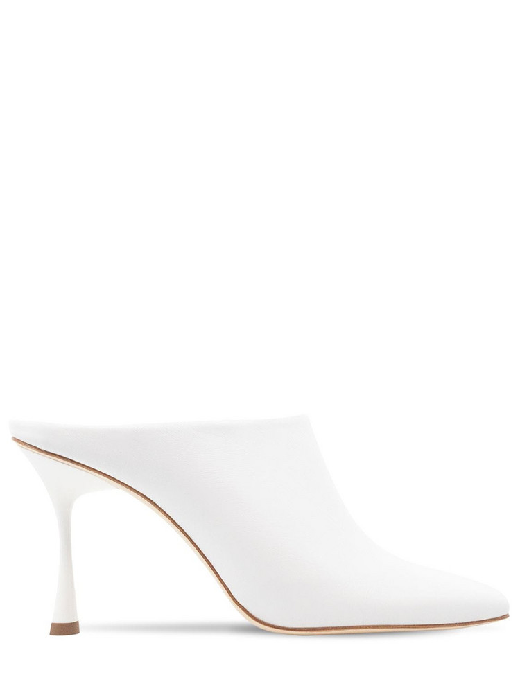 STUDIO AMELIA 90mm Chisel Leather Mules in white