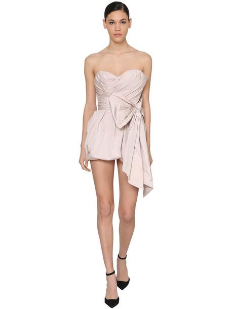 ALEXANDRE VAUTHIER Off Shoulder Draped Taffeta Mini Dress