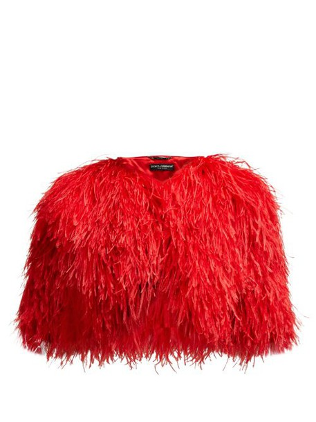 Dolce & Gabbana - Cropped Feather Bolero Jacket - Womens - Red