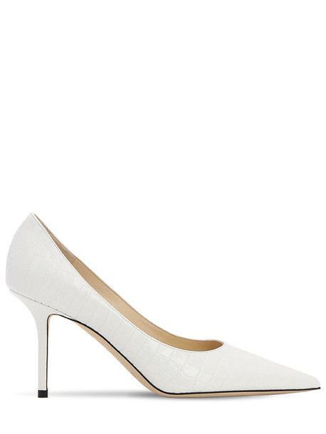 JIMMY CHOO 85mm Love Croc Embossed Leather Pumps in white