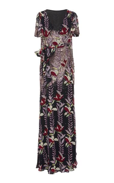 Temperley London Bellflower Sequin-Embellished Chiffon Maxi Wrap Dress in black