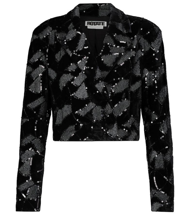 ROTATE BIRGER CHRISTENSEN Caroline sequined velvet blazer in black