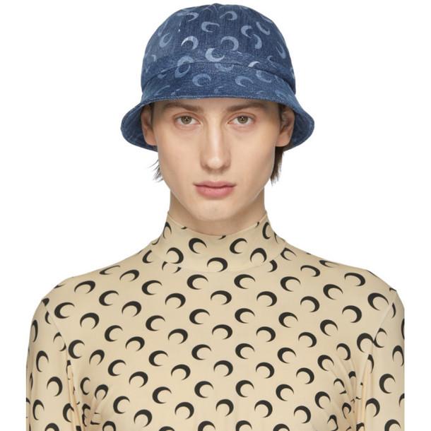 Marine Serre Blue Upcycled Denim Mooned Bob Hat