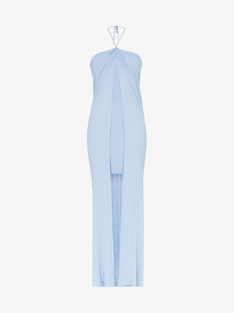 Jacquemus ribbed knit fitted dress in blue