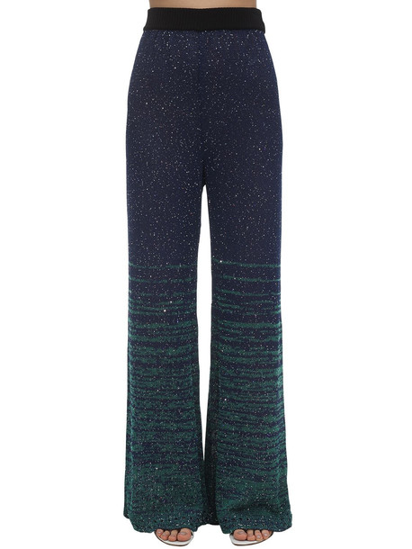 M MISSONI Sequined Knit Flared Pants in blue / green