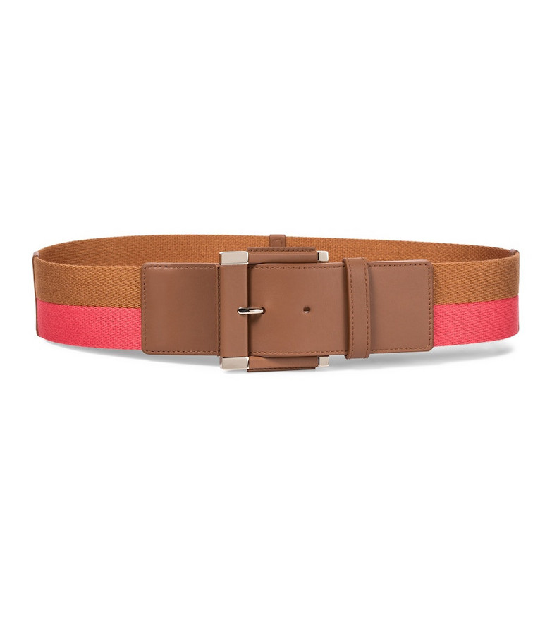 Loro Piana Ribbon leather-trimmed cotton belt in pink