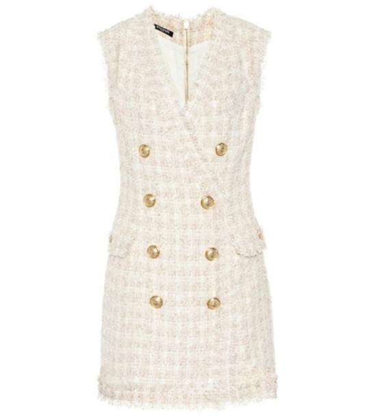 Balmain Tweed minidress in beige / beige