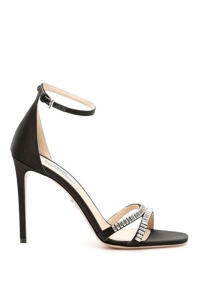 Prada Crystal Satin Sandals in black