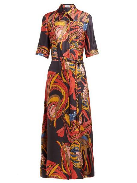 La Prestic Ouiston - Camicia Floral Print Silk Twill Shirtdress - Womens - Black Multi