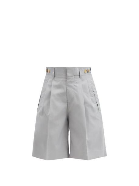 Umit Benan B+ - Richard Pleated Silk Suit Shorts - Womens - Light Blue
