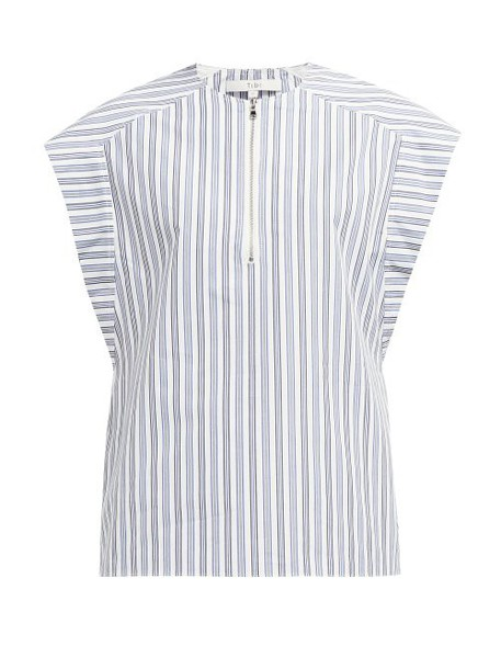 Tibi - Liam Striped Cotton Top - Womens - Light Blue